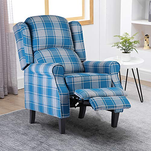 Ansley&HosHo-EU Pushback Recliner Chair for Elderly People, Overstuffed Lounge Couch Single Sofa with Checker Fabric Cover, Accent Upholstered Reclining Armchair for Living Room Recreation Room, Blue