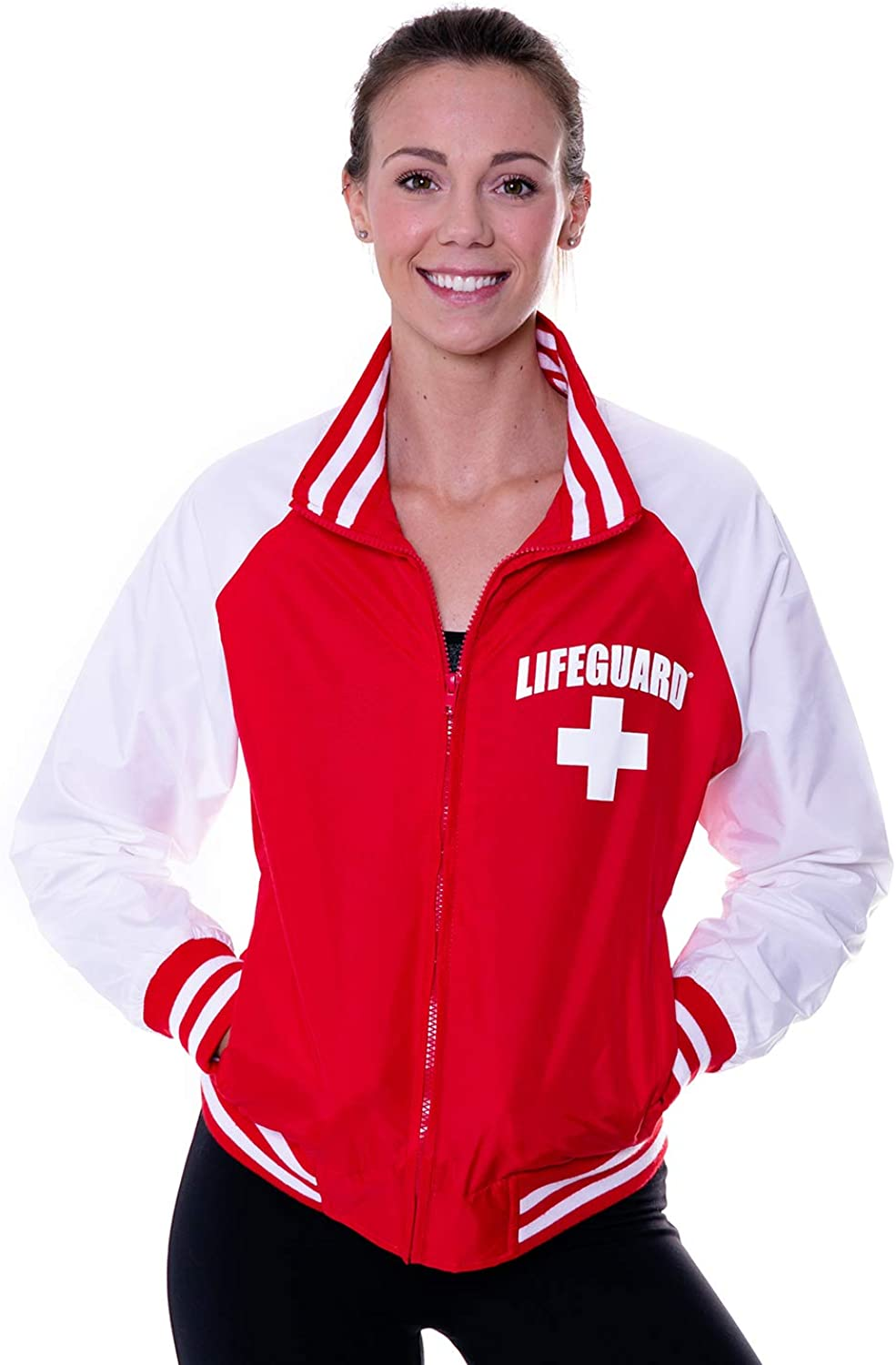 LIFEGUARD Officially Licensed Womens Varsity Championship Raglan Jacket Water Resistant and Wind Breaker Zipper Up…