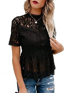 Women's Short Sleeve/Long Sleeve Sexy Sheer Mesh Lace Blouse Peplum Top