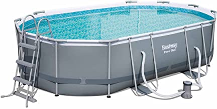 Höfer Chemie® Pool Power Steel ovalado Pool Set 488x 305x 107cm, marco de acero Piscina con bomba de filtro y accesorios de Bestway