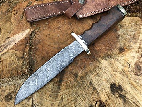 Perkin Knives Damastmesser Jagdmesser mit Scheide - Jagdmesser Bowie (Griff aus Walnussholz und Messing)