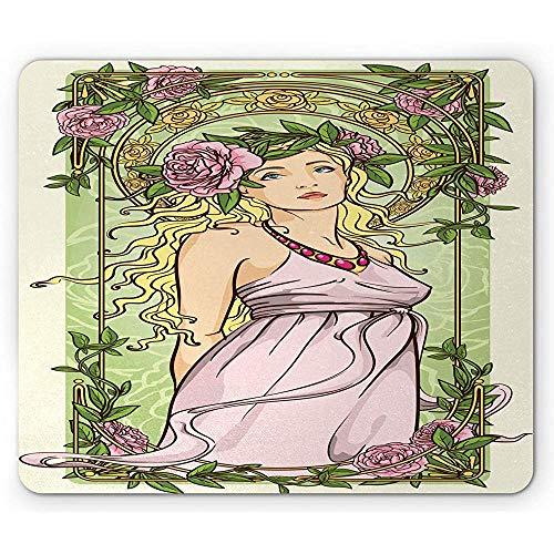 Floral Vintage Mouse Pad,Rahmen Mädchen mit antiker Kleidung und Blumenkranz im Jugendstil,Rechteck rutschfeste Gummi Mousepad,Standardgröße,Multicolor 30X25CM