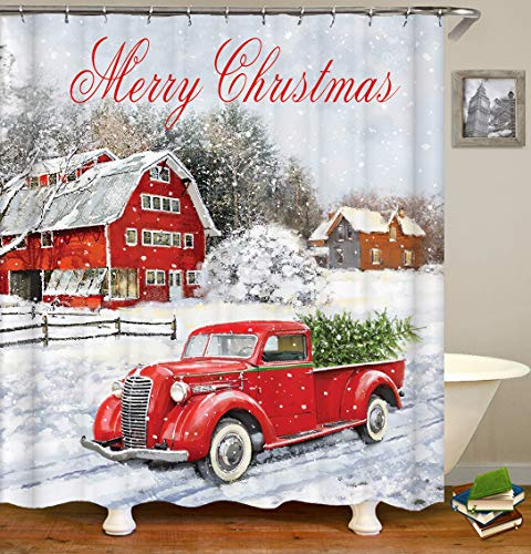 Christmas Shower Curtain, Colorful Christmas Balls with Pine Fir Tree, Polyester Fabric Red Retro Truck Car with Snowflake Xmas Tree on Rustic Wood Shower Curtain, Bathroom Accessory Sets, 60X70in