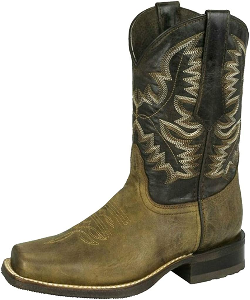 Hbeylia Women's Western Cowboy Cowgirls Boots With Side Zipper Vintage Embroidery Round Toe Chunky Low Heels Wide Mid Calf Boots For Women Riding