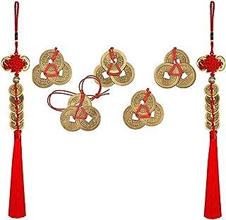 PPX 5 Ensembles Pièces Chinoises de Fortune Coins de Feng Shui I-Ching Coins et 2 Pièces Monnaie Porte-Bonheur en Forme de...