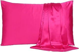 "Vedanta Sales Satin 600 TC Pillow Cover (Pink_20""X26"")"
