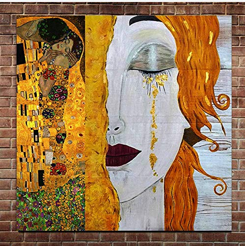 gaowei Hight Qualität Gustav Klimt Golden Tränen Ölgemälde auf Leinwand Handgemalte Abstrakte Figur Frau Wandbild Home Wand-dekor 80x100cm