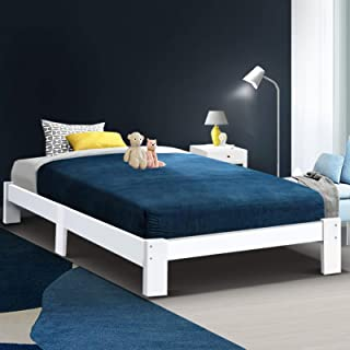 Artiss Jade Single Bed Frame | Wooden Platform Bed Base | White