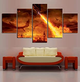 WSJXY 5 Piece Canvas Wall Art Wall Artwork Canvas Dragon Burn London Fire Movie Hd Prints Pictures 5 Panel Painting Home Decoration Posters