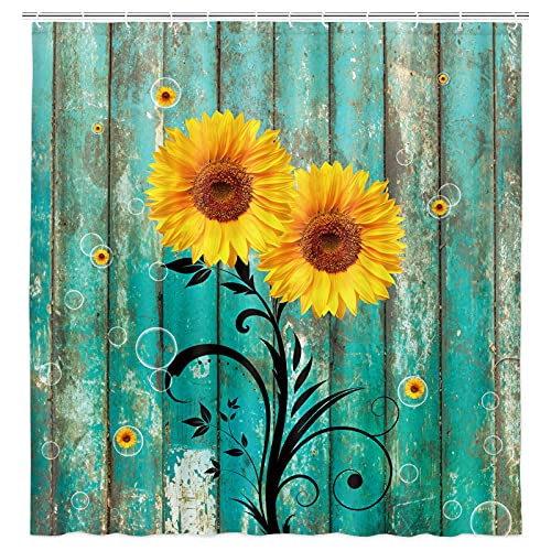 Rustic Sunflower Shower Curtain for Bathroom, Vintage Farmhouse Country Floral Flower on Old Barn Wooden Fabric Shower Curtain, Teal Yellow Brown Bubble Bathroom Curtains with Hooks Sets, 69X70inches