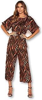 AX Paris Women's Tiger Print Belted Culotte Jumpsuit