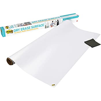 Post-it Dry Erase Whiteboard Film Surface for Walls, Doors, Tables, Chalkboards, Whiteboards, and More, Removable, Stain-Proof, Easy Installation, 4 ft x 3 ft Roll (DEF4X3)