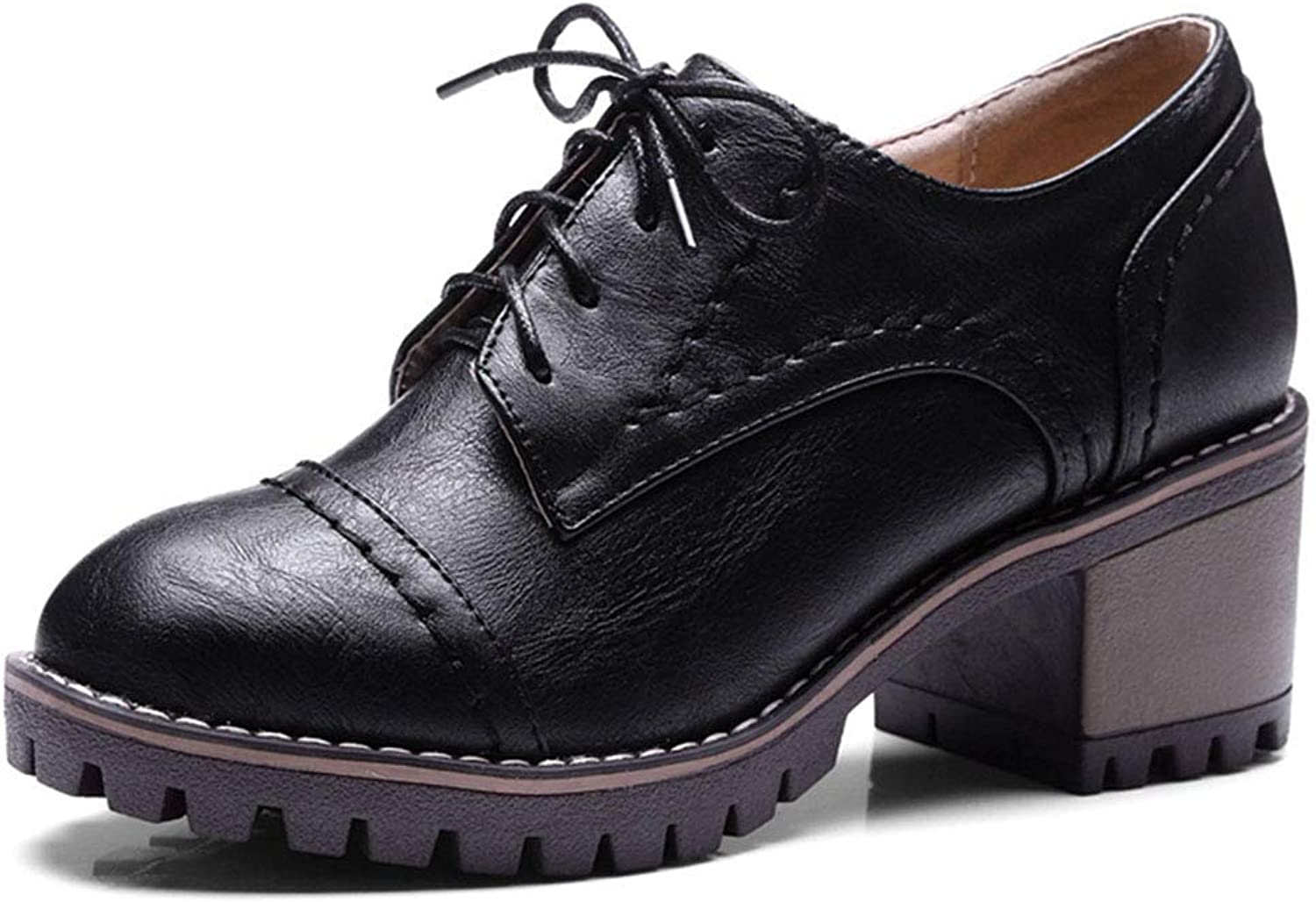 Fashion shoesbox Women's Classic Chunky Heel Ankle Booties Round Toe Lace up Slip-On Handmade Platform Oxford shoes