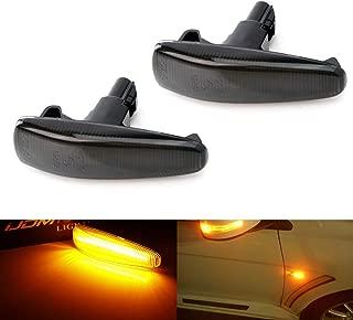 iJDMTOY Smoked Lens Amber Full LED Front Side Marker Lights For Mistubishi Lancer Evo X Mirage Outlander Sport, Powered by 36-SMD LED, Replace OEM Sidemarker Lamps