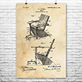 Patent Earth Adirondack Chair Poster Print, Furniture Maker, Carpenter Gift, Wood Working, Shop Class Teacher, Handyman Gift (8 inch x 10 inch)
