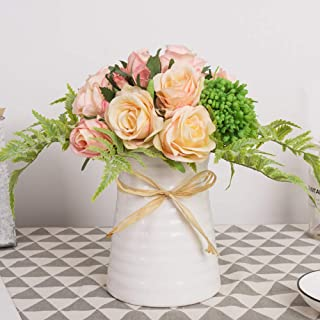 YUYAO Artificial Flowers Rose Bouquets with Vase Fake Silk Flower with Ceramic Vase Modern Bridal Flowers for Wedding Home Table Office Party Patio Decoration (Pink)