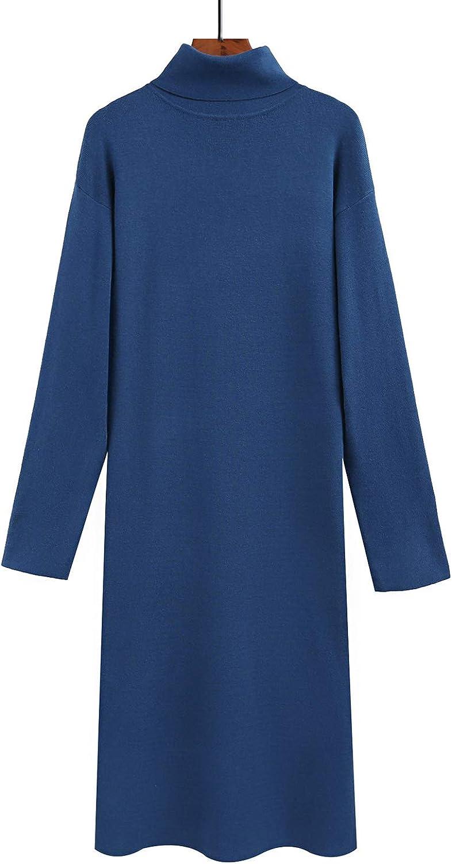 Yimoon Women's Ribbed Turtleneck Sweater Knit Midi Dress