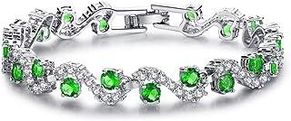 Almusen Fashion S-Type Copper Cubic Zirconia Tennis Bracelet Plated Silver Bracelets for Women Jewelry Gifts for Women Par...