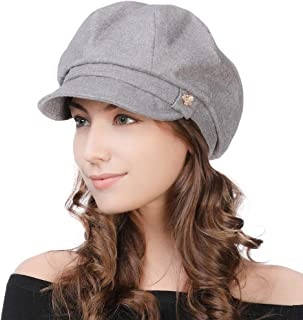 Womens Newsboy Cap Visor Beret Winter Fashion Peaked Cabbie Hat Satin Lined