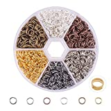 PandaHall Elite About 1800 Pcs Iron Open Jump Rings Unsoldered Diameter 6mm Wire 21-Gauge 6 Colors for Jewelry Findings