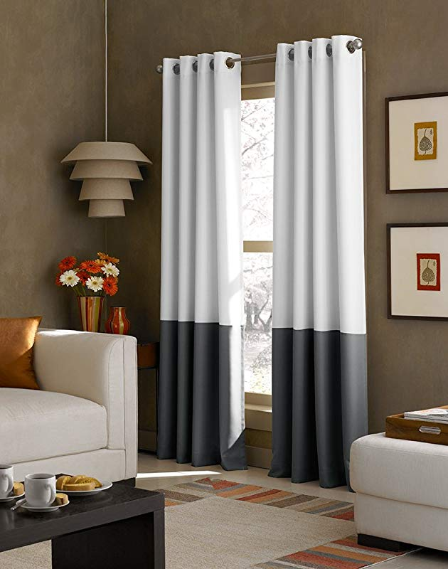 Curtainworks Kendall Color Block Grommet Curtain Panel 120 Inch White