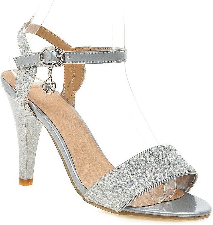 WeiPoot Women's Soft Material Buckle Open Toe High-Heels Solid Heeled-Sandals