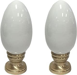 Royal Designs Ceramic Egg Shaped White Lamp Finial on Polished Brass Base - Set of 2