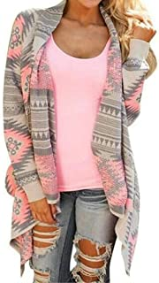 Women's Aztec Print Drape Open Front Drape Boyfriend Cardigan Sweaters