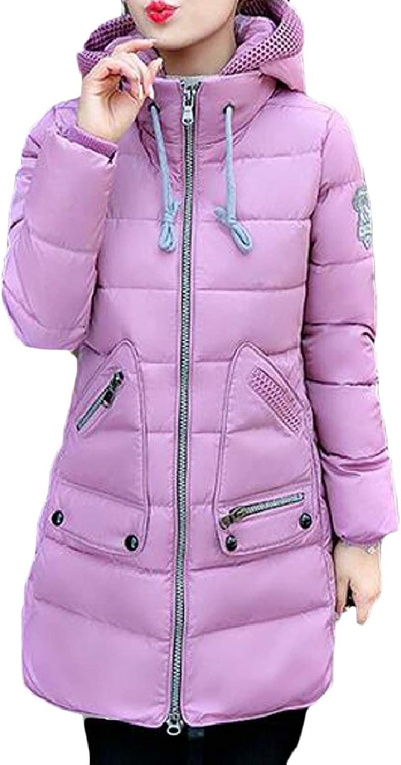 LEISHOP Women's Hooded Thickened Down Parka Puffer Jacket Coat
