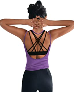 Womens Summer Workout Tops Sexy Backless Yoga Shirts Open Back Activewear Running Sports Gym Quick Dry Tank Tops