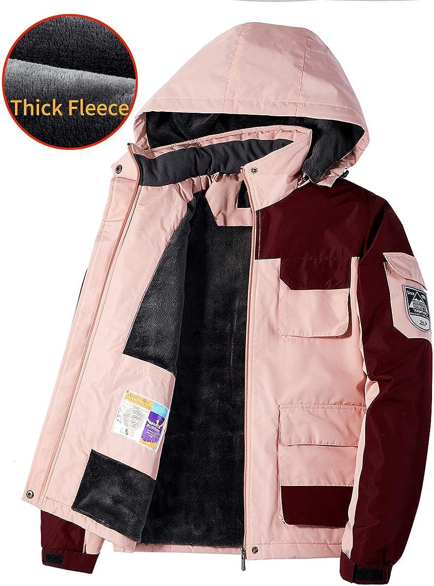 Womens Mountain Waterproof Ski Jacket Windproof Rain Snowboarding Jackets Winter Fleece Warm Snow Hooded Coat