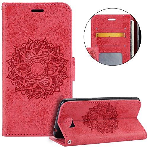 Surakey Compatible Pour Coque Huawei Y5 II Etui PU Cuir Housse Portefeuille Porte-Cartes Support Mandala Motif Flip Case Clapet Wallet Case rabat et Folio Fermeture Magnétique,Rouge