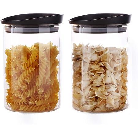 2friends GmbH Juego de tarros con tapa 3 unidades, 2 L, tama/ño ideal para cornflakes o recipientes, con 3 pegatinas para escribir, tapa blanca, fabricado en la UE