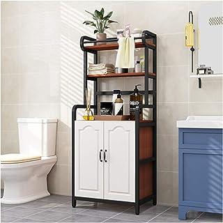 KOKOF Étagère de salle de bain au sol multicouche étagère de salle de bain WC balcon machine à laver avec armoire Noir