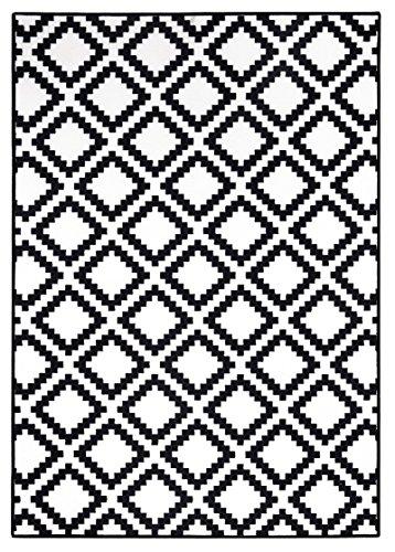 onloom Moderner Teppich in Schwarz-Weiß, Designerteppich in 3 Motiven. Flachwebteppich, geometrische Muster, Größe:160 x 230 cm, Farbe:Geometrisch