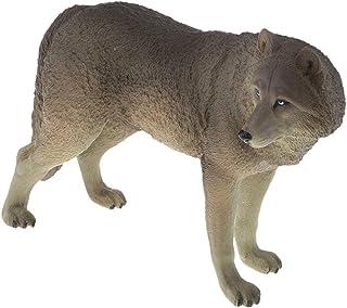 ウルフモデル おもちゃ PVC製 狼モデル アニマル 動物 ウルフ模型 - グレー