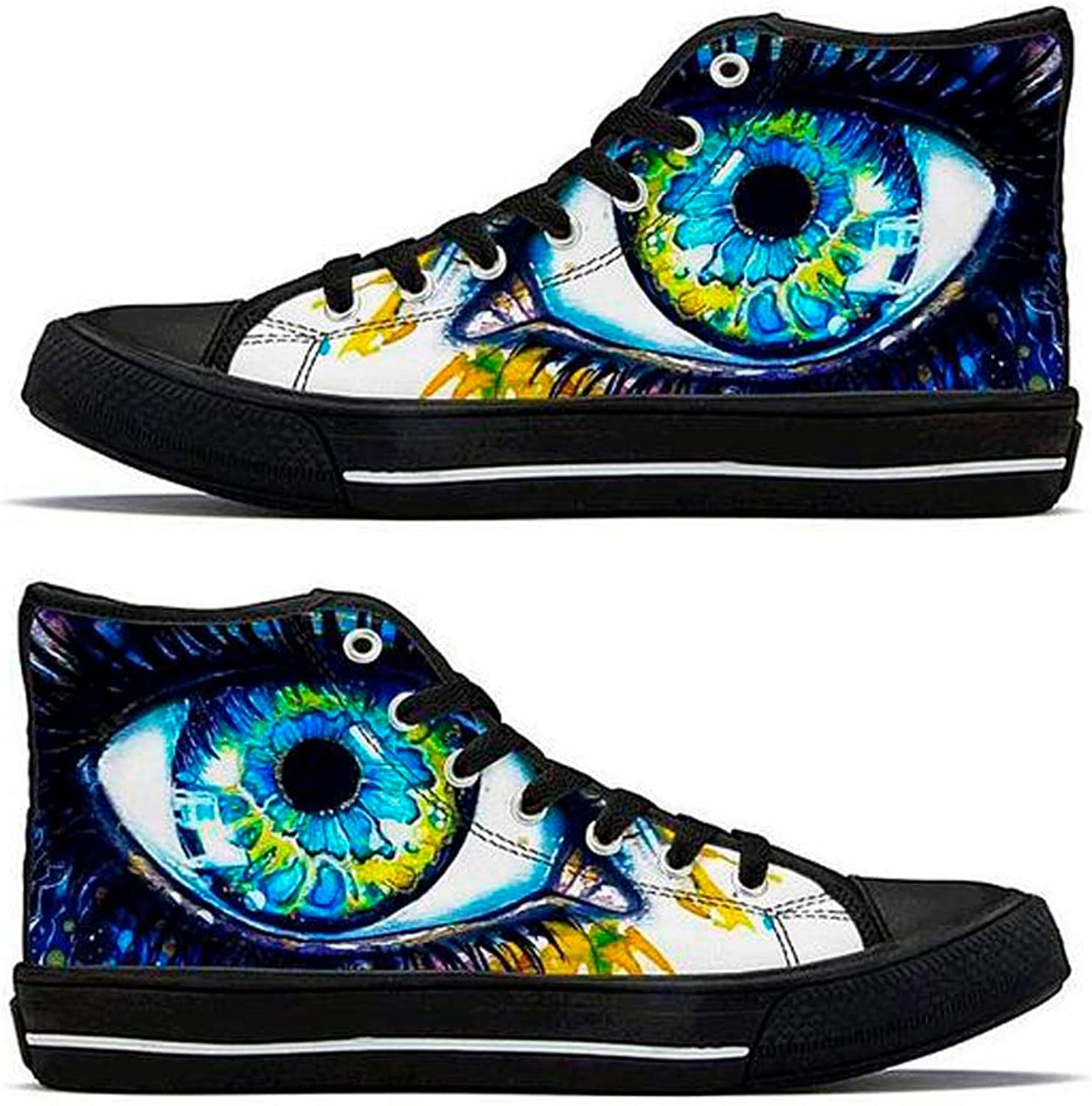 IEDM Eyecop Kopie Psychedelic Vibrant colorful 3D Graphic Print Lace-Up High-Top Comfortable Walking Sports Sneakers