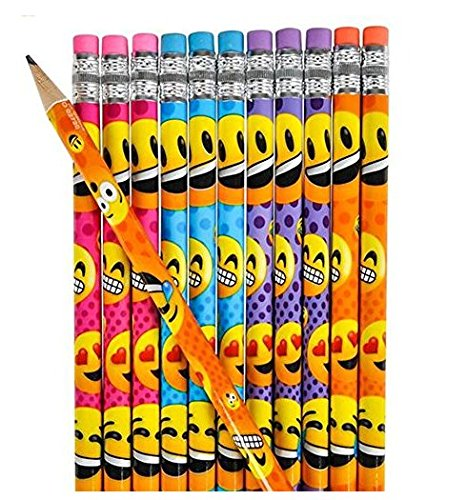 24 Emoji Smiley Face Wooden Pencils