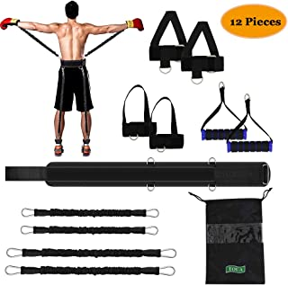 TOUA Speed Strength and Agility Resistance Bands Set Training Strap for Vertical Jump Squat Boxing MMA Taekwondo Karate Bounce Softball Basketball Volleyball Football Training Black