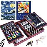 Set de creatividad de arte de lujo, suministros de arte en estuche de madera portátil - Pasteles al óleo, lápices de colores, pasteles de acuarela, sacapuntas de lujo