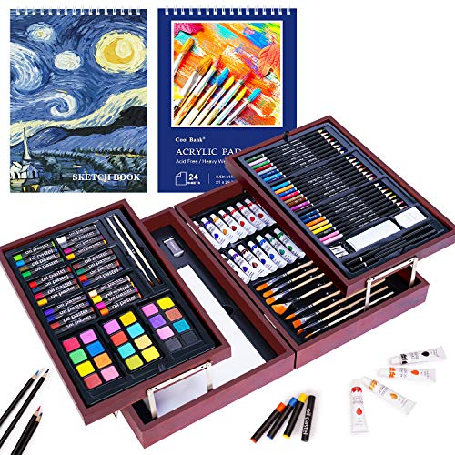 126 Piece Art Set with 2 Drawing Pad, Art Set in Portable Wooden Case, Crayons, Oil Pastels, Colored Pencils, Acrylic Paints, Watercolor Cakes, Brushes, Art Supplies