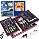 126 Piece Deluxe Art Set with 2 Drawing Pad, Art Set in Portable Wooden Case- Crayons, Oil Pastels, Colored Pencils, Acrylic Paints, Watercolor Cakes, Brushes, Deluxe Art Set