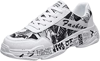 Casual Graffiti Sneakers,QueenMM🍀Men's Comfort Breathable Flat Fashion Running Shoes Lightweight Running Sport Shoes