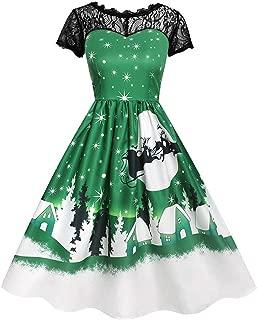 Vintage Halloween Christmas Dress for Women Fashion Lace Short Sleeve Dress Printed Swing Dress