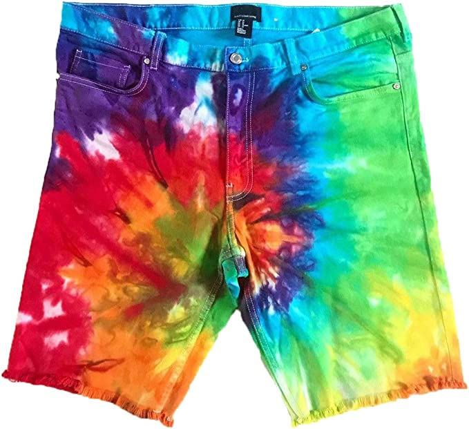 Tie-Dye  drawstring Shorts  Rainbow Crinkle  cotton