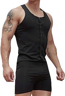 CHICTRY Body Hombre Bodysuit Chaleco Leotardo Ropa Interior Pantalones Cortos Maillot Mono Deportivo Danza Ropa de Dormir ...