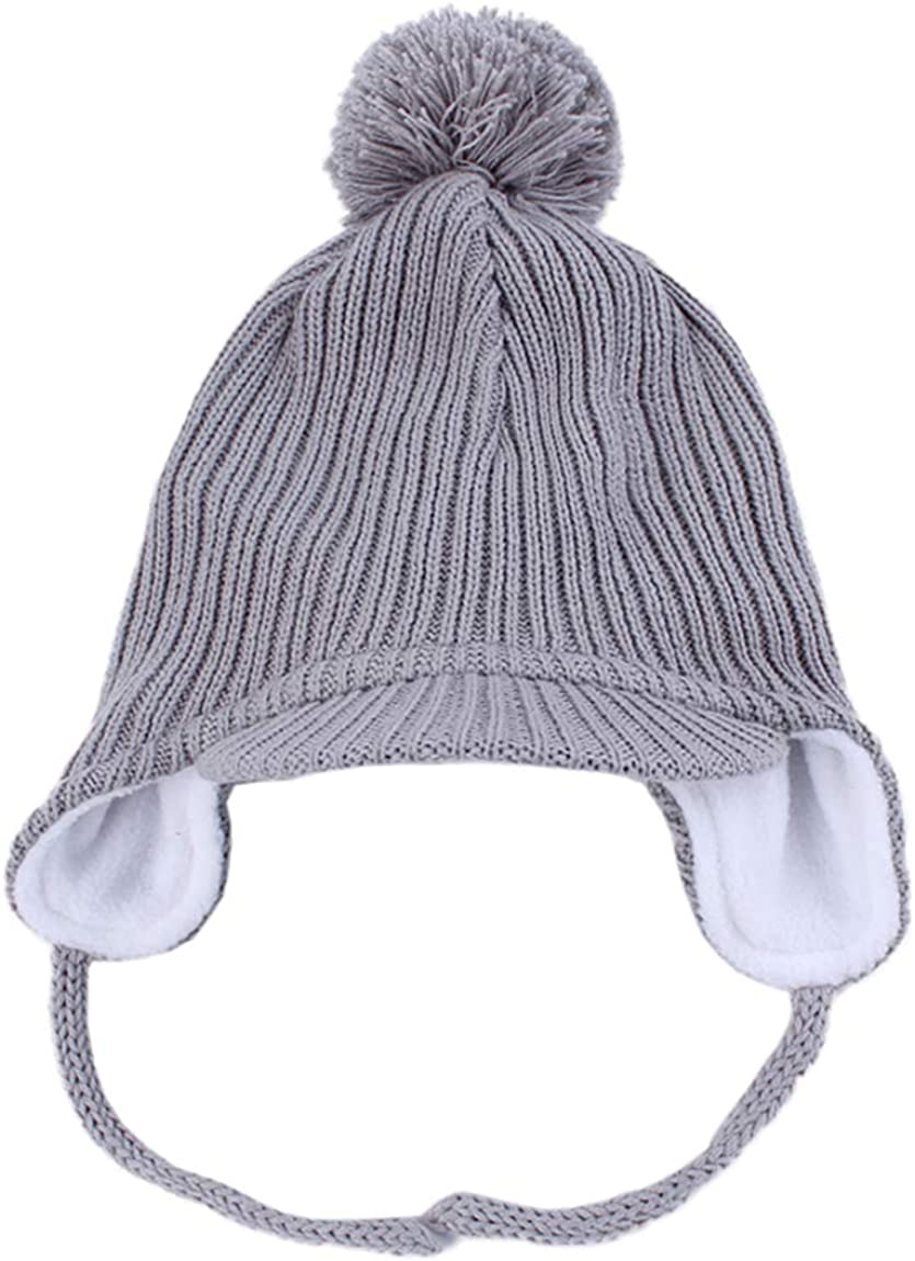 LLmoway Toddler Fleece Beanie Winter Hat with Ear Flaps Baby Knit Hat with Visor