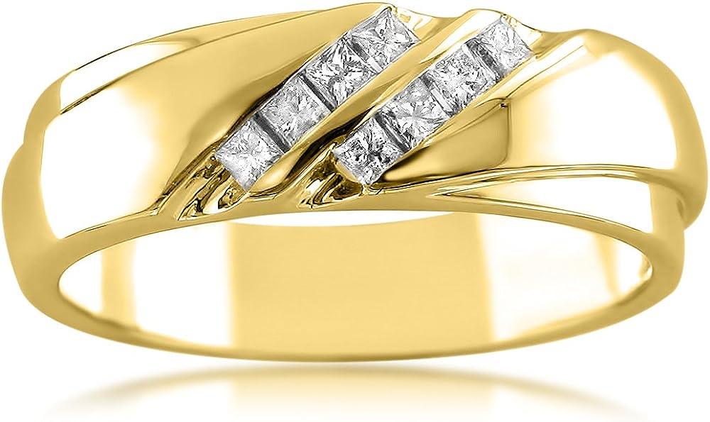 14k Yellow Gold Double Row Men's Wedding Ba Max Finally resale start 85% OFF Princess-cut Diamond