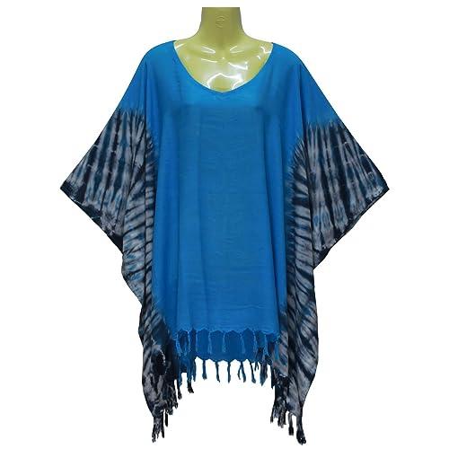 65c8a0838b9 ATM Poncho Caftan Tops Kaftan Blouse Non-Fade Tie dye Color Plus Size