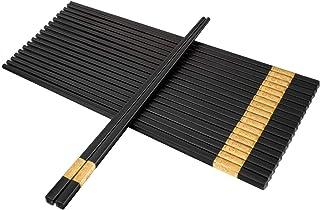 Fiberglass Alloy Chopsticks, 10 Pairs Reusable Non-slip Japanese Chinese Korean Chop Sticks Dishwasher Safe, 9 1/2 inches - Gold